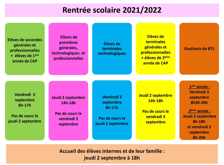 Calendrier de rentrée 2021